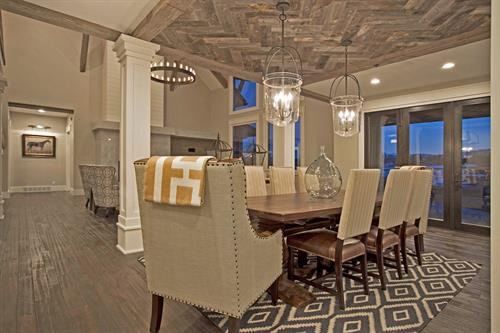 Reclaimed wood ceiling in herringbone pattern. SLC, UT.