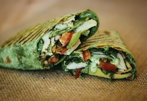 Mediterranean - turkey, swiss, avocado, pesto-mayo in a spinach wrap