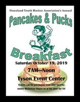 Siouxland Youth Hockey Association's Annual Pancakes and Pucks Breakfast October 19th