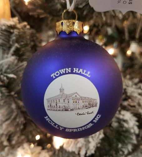 Christmas Ornaments - A hand-drawn image of Holly Springs Town Hall, imprinted on a glass ball