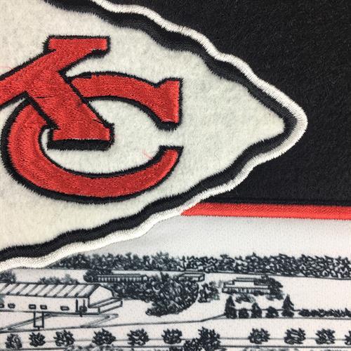 Stadium Banner - Arrowhead Stadium, Kansas City Chiefs, detail view of embroidered logo