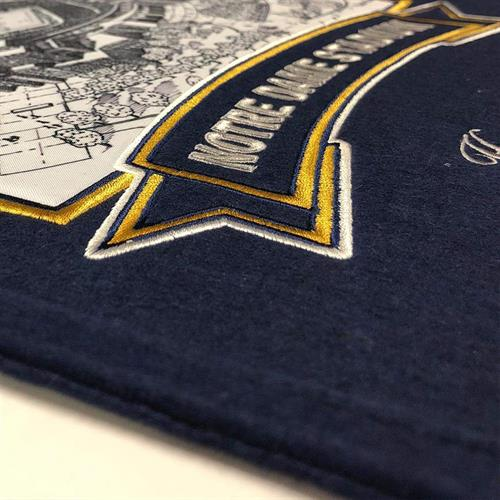 Stadium Banner - Notre Dame Stadium, detail view of embroidery on wool