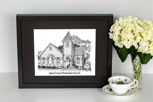 Church Sketch - Holly Springs United Methodist Church used as a Wedding Gift