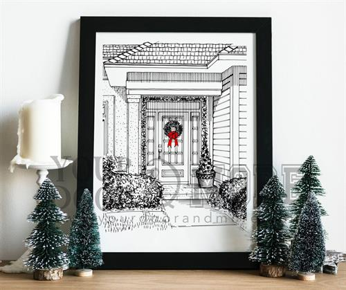Christmas Front Door Sketch - A personal home used as a Christmas Card