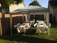 "Rectangle tables 6"" and canopy tents."