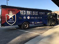North Carolina Football Club's newly wrapped fan buses with 3M vinyl.