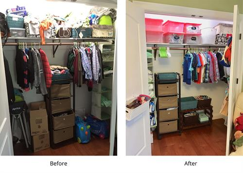 Before and after child's closet