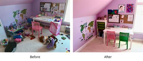 Before and after playroom