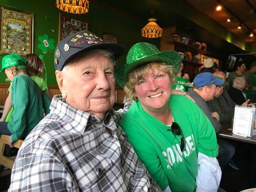 100 year old WWII Navy Vet celebrating St. Patrick's Day
