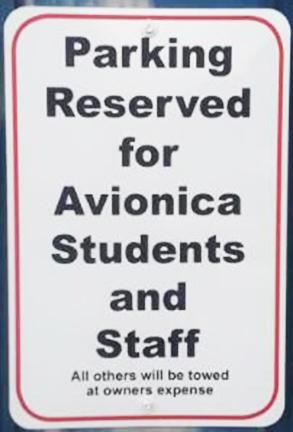 Avionica Parking Sign