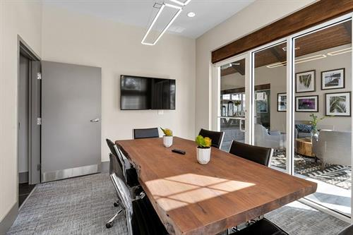 Host your next business meeting in our bright, professional and WiFi equipped conference room or even connect to our flat screen TV and host a video conference!