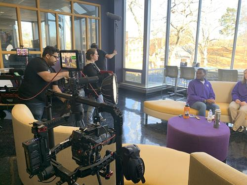 Filming for the College of Education and Human Sciences at the University of North Alabama.