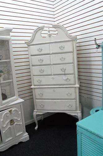 This antique highboy is all shabby chic!