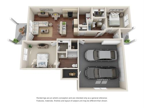 Santee model - 2 car garage!