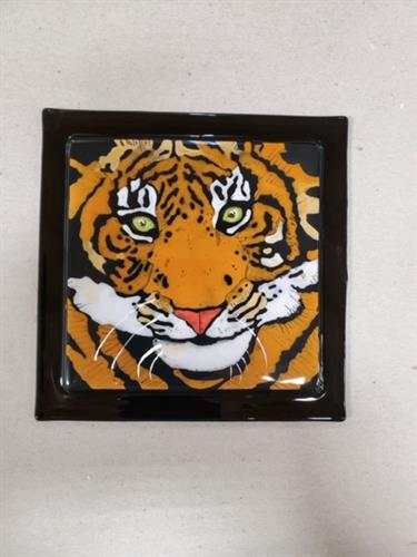 Tiger - Hand painted on glass