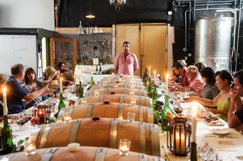 Cellar dinners with the winemaker in our working winery can be booked through our event office