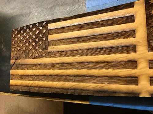Laser engraved American Flag on wood