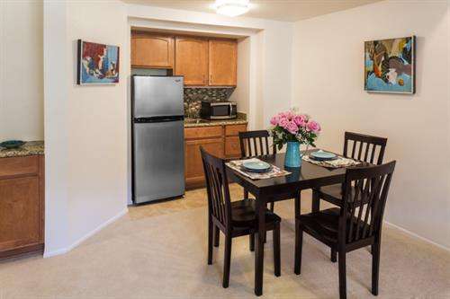 Dining room of one bedroom apartment