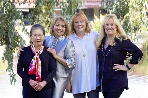 Our happy team at Sun Orthodontics (Leslie, Dr. Duong, Ginny, Raquel)