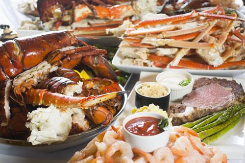 Just a taste of the 200+ dishes offered every day at the award-winning Maine Lobster Buffet at Valley View Casino & Hotel.