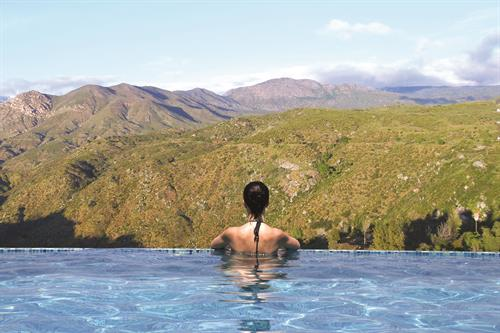 The Infinity Pool at Valley View Casino & Hotel offers incredible views of the Palomar Mountain Range.