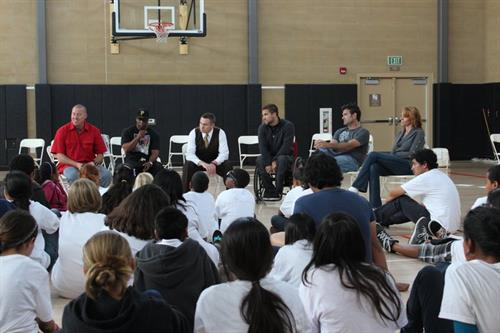 Speaking at a Youth Summit with John Vandenburg - Peer Leaders Uniting Students