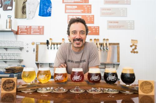 Our BrewMaster, Marty, with some of our award-winning brews. We usually have 14+ on tap.