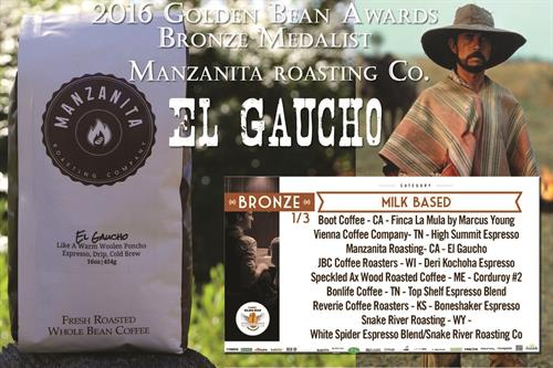 Our coffees are winning awards and getting high national reviews, like our El Gaucho here, our flagship blend that's a crowdpleaser,