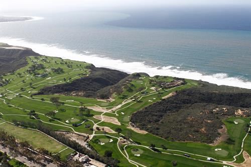 Aerial views of majestic Torrey Pines late January during broadcast on CBS and Golf Channel creates San Diego-envy.