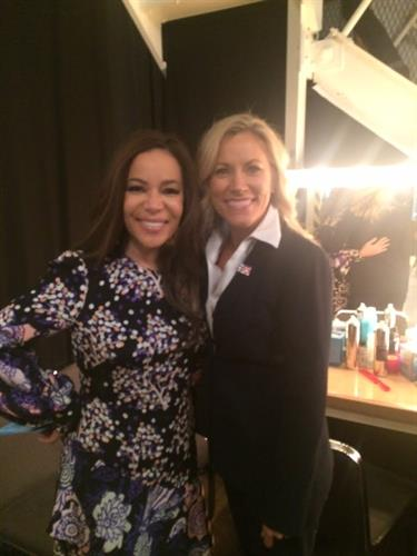 Backstage with Sunny Hostin on The View set.