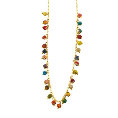 "Brass and recycled sari wrapped bead necklace   18""  special coating to keep the finish perfect."