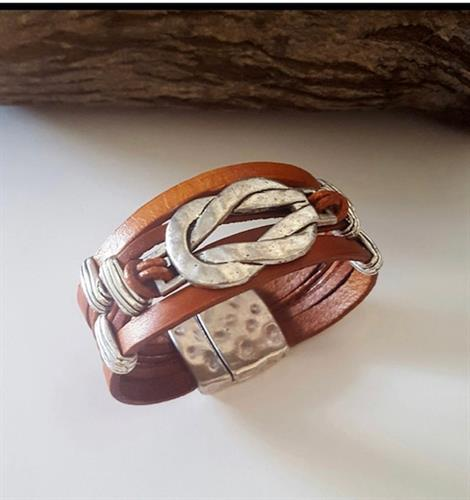 INfiniti and beyond bracelet in brown or black upcycled leather and silver brass magnetic closure