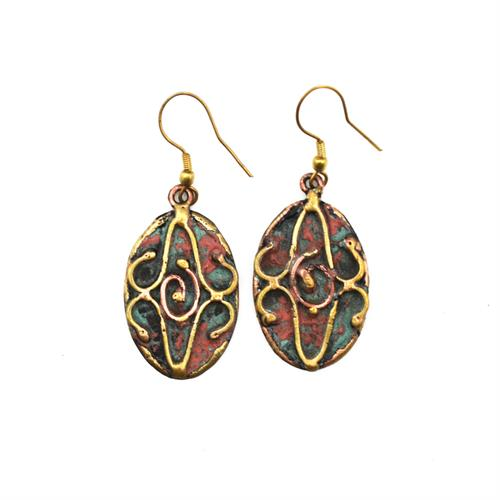 Patina copper swirl your world earring drops
