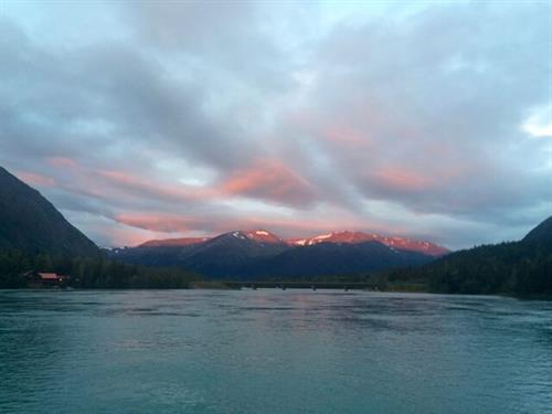 Alpenglow at the Bridge in Cooper Landing