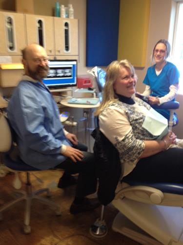Dr. Allgair and Janee gave patient Debbie something to smile about during her recent visit.
