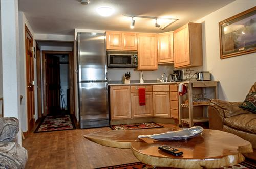 Kitchenette with needed cooking utensils