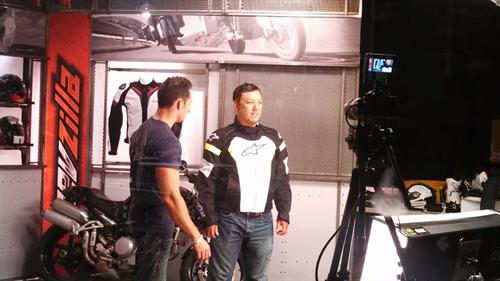 Steve filming with Anthony at Revzilla Motorcycle Gear in Philadelphia, PA