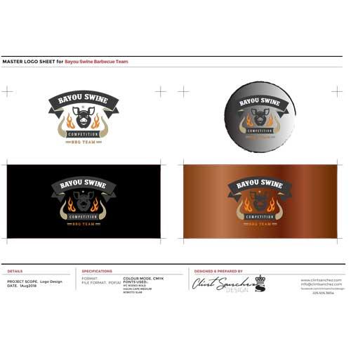 Bayou Swine Competition BBQ Team Custom Logo Design