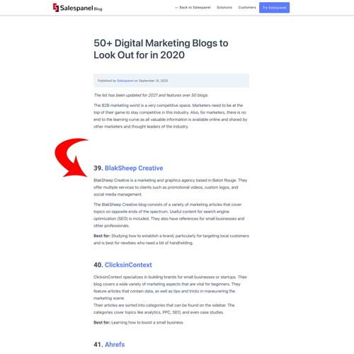 BlakSheep Creative Was in Salesforce.io's list. ofTop 50 Digital Marketing Blogs in 2020 and 2021