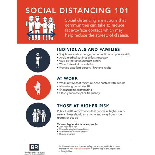 City of Baton Rouge COVID Social Distancing Infographic