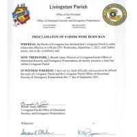 Livingston Parish Burn Ban Effective Sep 1, 2021 Until Further Notice