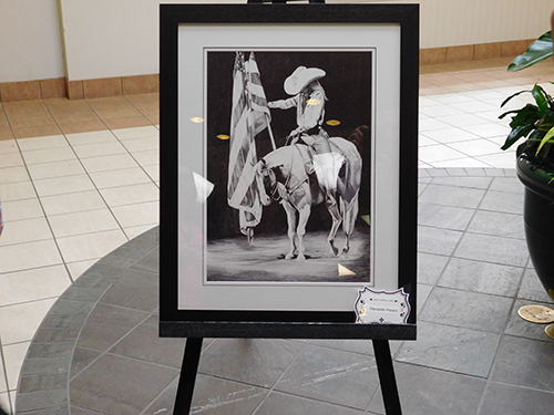 Unveiling of the Snake River Stampede Shelly Wilcox by artist Robin Cox, done in ball point pen