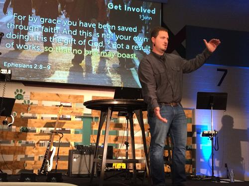 Pastor Ryan preaching.