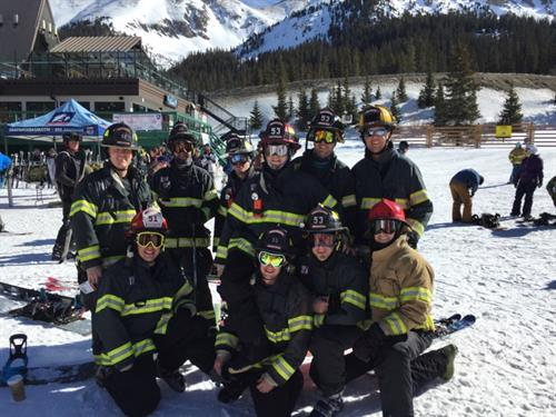 10 of our firefighters skied the 2016  Hose Race for Children's Hospital Burn Camps Program
