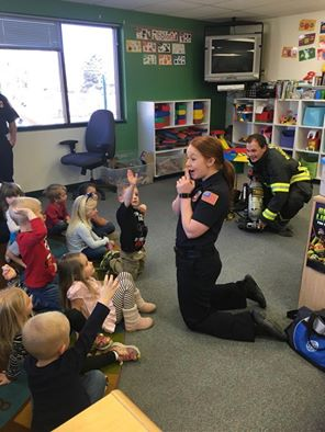 Firefighters visit with preschoolers at Zion Lutheran
