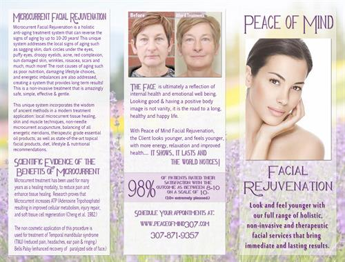 Peace of Mind Health Spa - Facial Rejuvenation Brochure 1