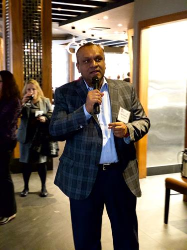 "Asif Choudhury speaking at the Rockville Chamber's Mix and Mingle at Kabuto's - ""How to Network like a Professional"""