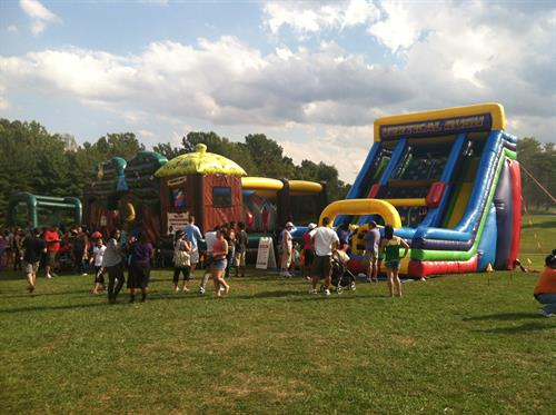 inflatable slides, bounces, obstacle courses