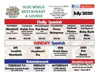 Daily specials for Olde World Restaurant for the month of July