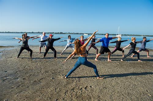 We offer beach yoga.